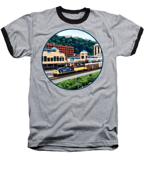 Pittsburgh Pa - Freight Train Going By Station Square Baseball T-Shirt by Susan Savad