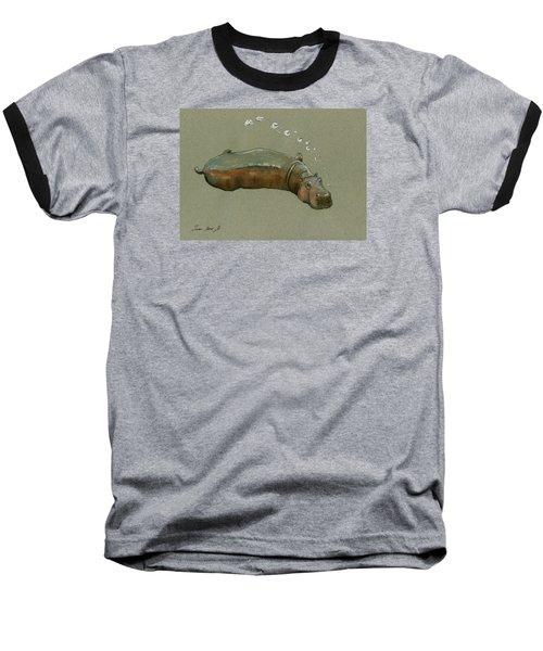 Playing Hippo Baseball T-Shirt by Juan  Bosco