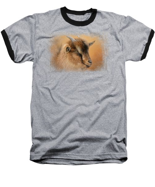 Portrait Of A Nubian Dwarf Goat Baseball T-Shirt by Jai Johnson
