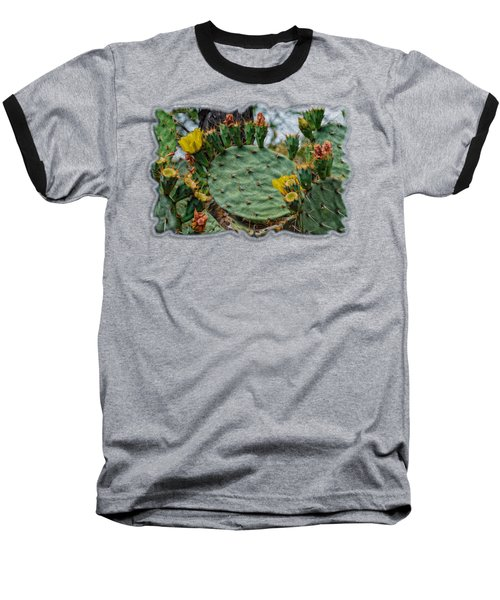 Prickly Pear Flowers Op46 Baseball T-Shirt by Mark Myhaver