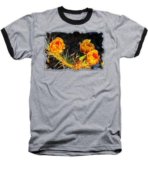Prickly Pear Flowers Op49 Baseball T-Shirt by Mark Myhaver