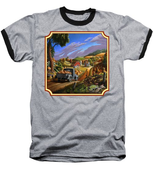 Pumpkins Farm Folk Art Fall Landscape - Square Format Baseball T-Shirt by Walt Curlee