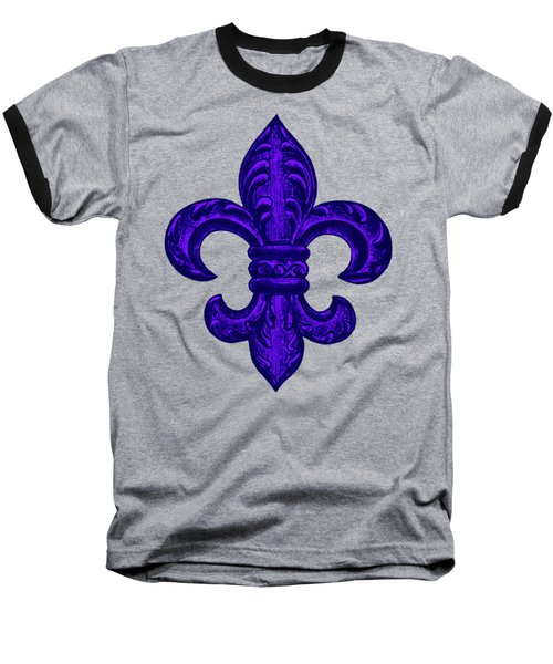 Purple French Fleur De Lys, Floral Swirls Baseball T-Shirt by Tina Lavoie