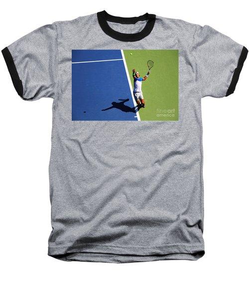Rafeal Nadal Tennis Serve Baseball T-Shirt by Nishanth Gopinathan