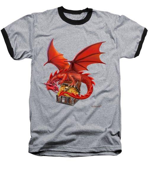 Red Dragon's Treasure Chest Baseball T-Shirt by Glenn Holbrook