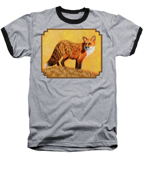 Red Fox Painting - Looking Back Baseball T-Shirt by Crista Forest