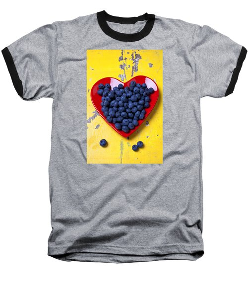 Red Heart Plate With Blueberries Baseball T-Shirt by Garry Gay