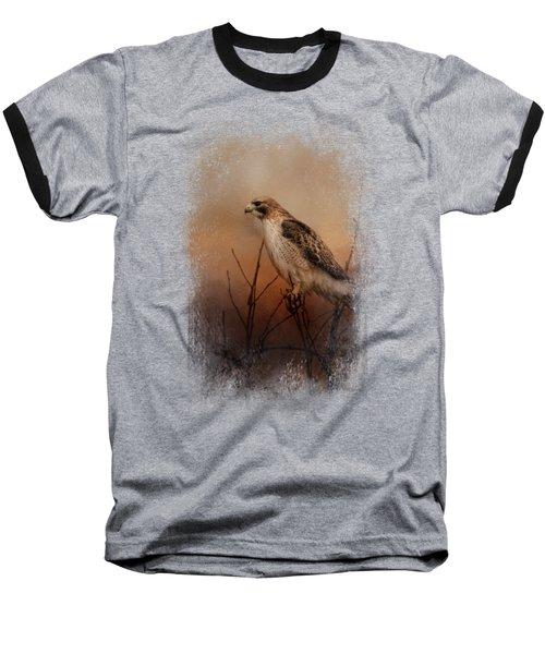 Red Tail In Wait Baseball T-Shirt by Jai Johnson
