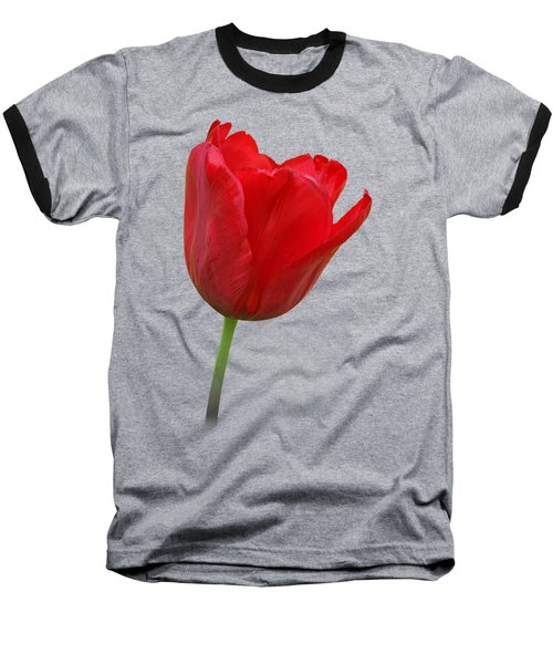 Red Tulip Open Baseball T-Shirt by Gill Billington