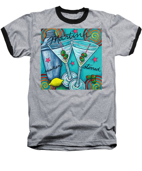 Retro Martini Baseball T-Shirt by Lisa  Lorenz