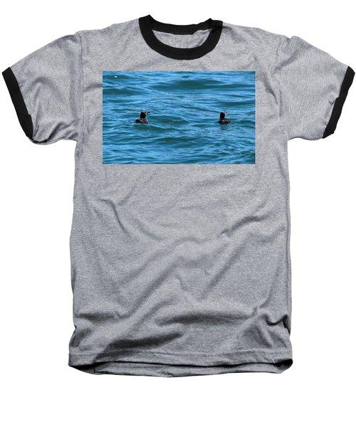 Rhinoceros Auklet Baseball T-Shirt by Linda Kerkau