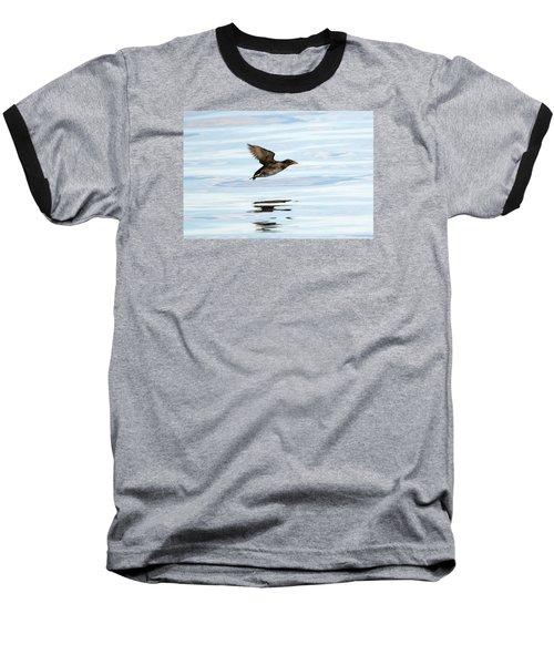 Rhinoceros Auklet Reflection Baseball T-Shirt by Mike Dawson