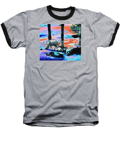 Rhinos Having A Picnic Baseball T-Shirt by Abstract Angel Artist Stephen K