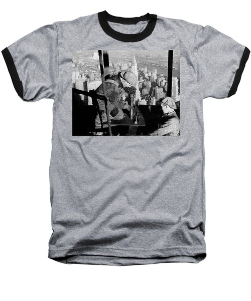 Riveters On The Empire State Building Baseball T-Shirt by LW Hine
