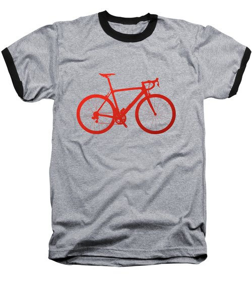 Road Bike Silhouette - Red On Black Canvas Baseball T-Shirt by Serge Averbukh