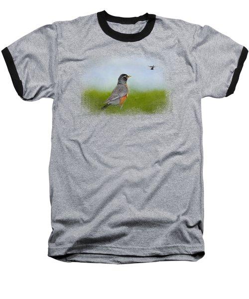 Robin In The Field Baseball T-Shirt by Jai Johnson