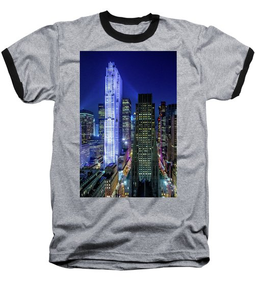 Baseball T-Shirt featuring the photograph Rockefeller At Night by M G Whittingham