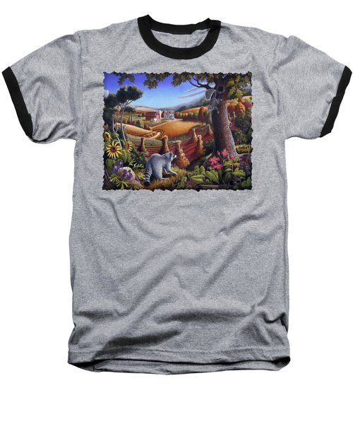 Rural Country Farm Life Landscape Folk Art Raccoon Squirrel Rustic Americana Scene  Baseball T-Shirt by Walt Curlee