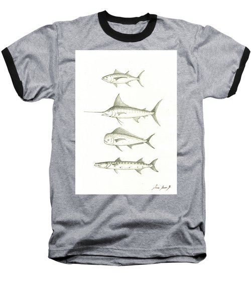 Saltwater Gamefishes Baseball T-Shirt by Juan Bosco