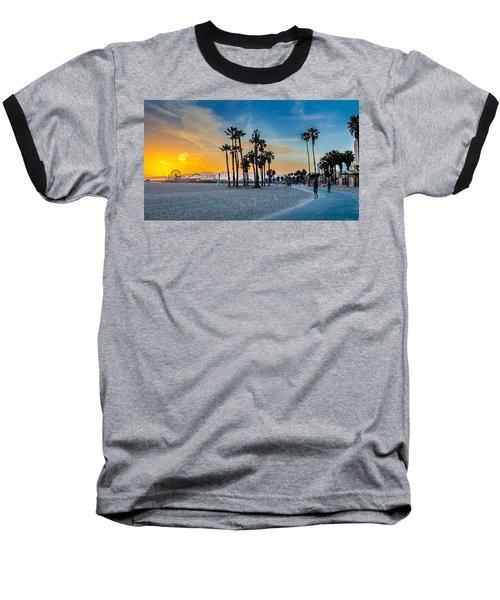 Santa Monica Sunset Baseball T-Shirt by Az Jackson