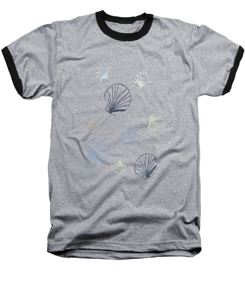 Seashell Pattern Baseball T-Shirt by Christina Rollo