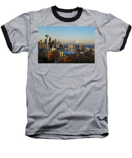 Seattle Cityscape Baseball T-Shirt by Greg Vaughn - Printscapes