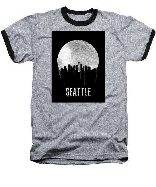 Seattle Skyline Black Baseball T-Shirt by Naxart Studio