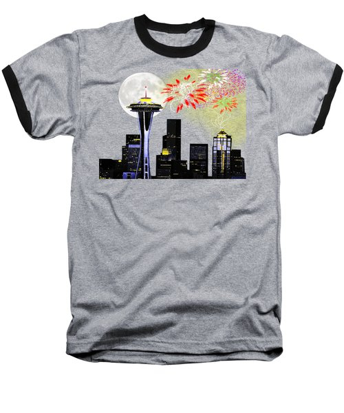 Seattle Skyline Baseball T-Shirt by Methune Hively