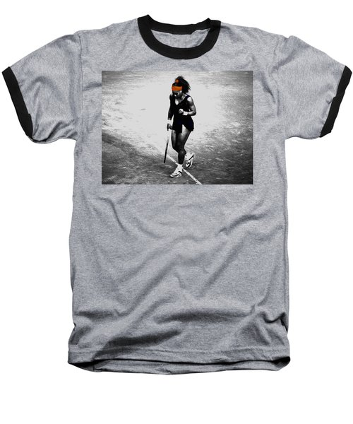 Serena Williams Match Point 3a Baseball T-Shirt by Brian Reaves