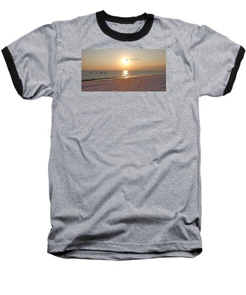 Shackleford Banks Sunset Baseball T-Shirt by Betsy Knapp