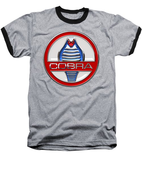 Shelby Ac Cobra - Original 3d Badge On Blue And White Baseball T-Shirt by Serge Averbukh