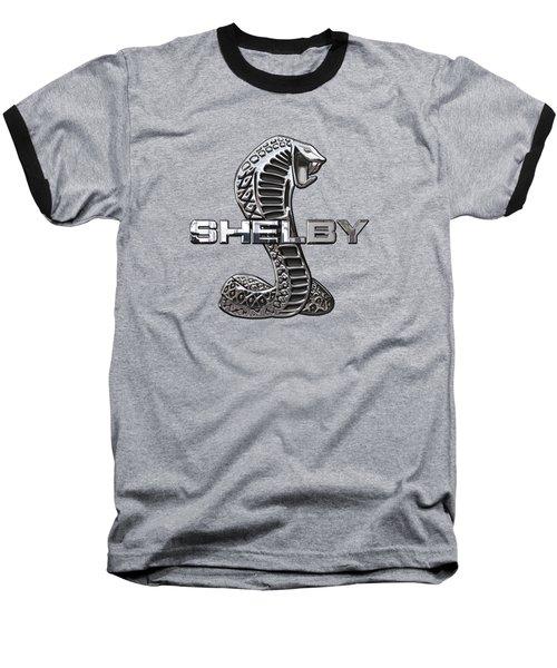 Shelby Cobra - 3d Badge On Red Baseball T-Shirt by Serge Averbukh