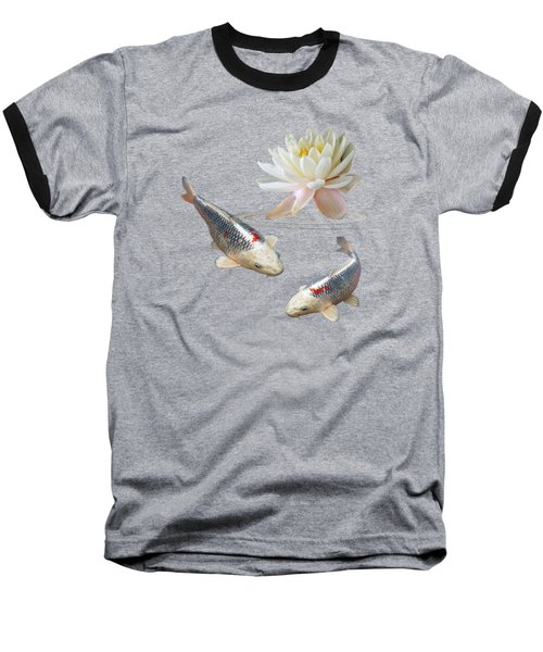 Silver And Red Koi With Water Lily Vertical Baseball T-Shirt by Gill Billington