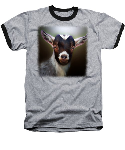 Skippy - Goat Portrait Baseball T-Shirt by Linda Koelbel