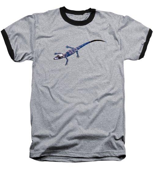 Slightly Waving A Tail. Alligator Baby Baseball T-Shirt by Zina Stromberg