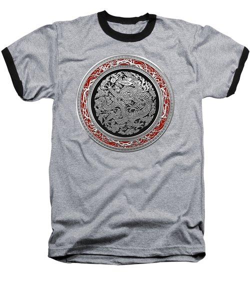 Sliver Chinese Dragon On Black Velvet Baseball T-Shirt by Serge Averbukh