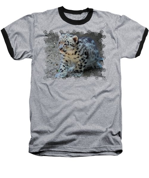 Snow Leopard Cub Paws Border Baseball T-Shirt by Terry DeLuco