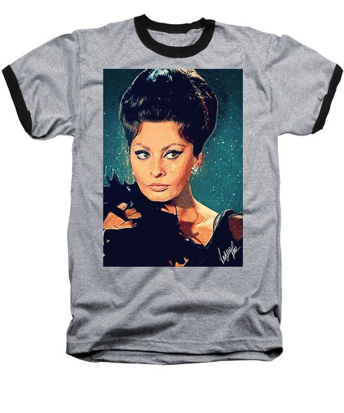Sophia Loren Baseball T-Shirt by Taylan Soyturk