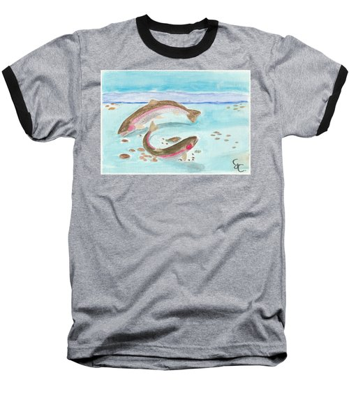 Spawning Rainbows Baseball T-Shirt by Gareth Coombs