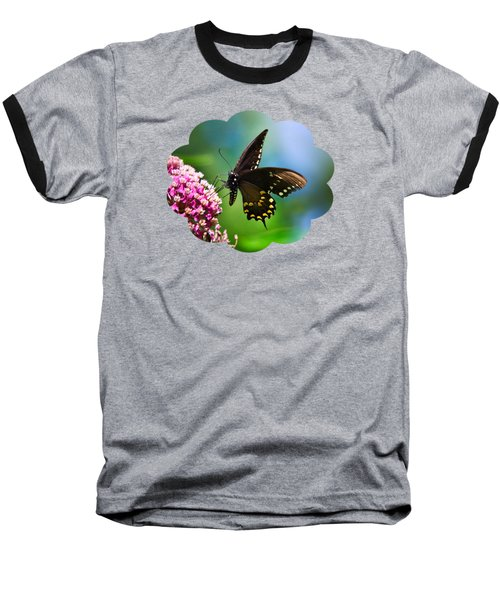 Spicebush Swallowtail Butterfly On Pink Flower Baseball T-Shirt by Christina Rollo