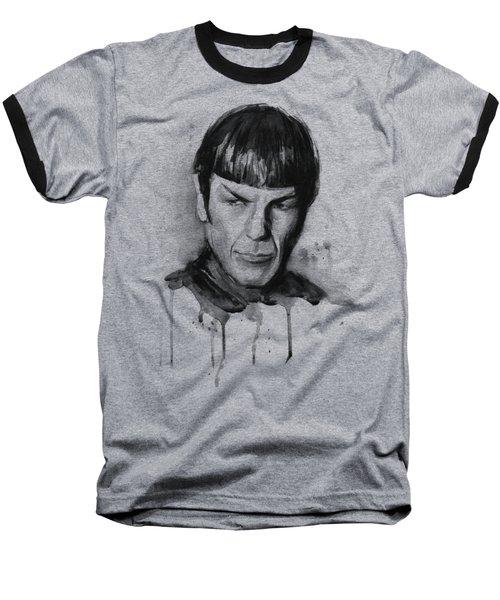 Spock Portrait Watercolor Star Trek Fan Art Baseball T-Shirt by Olga Shvartsur