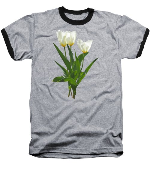 Spring - Backlit White Tulips Baseball T-Shirt by Susan Savad