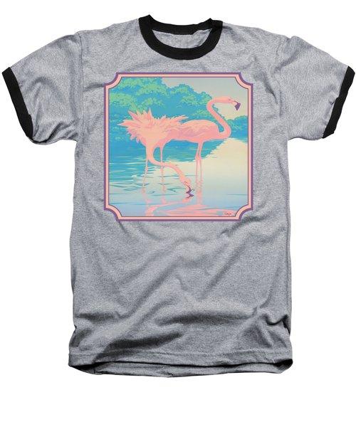 Square Format - Pink Flamingos Retro Pop Art Nouveau Tropical Bird 80s 1980s Florida Painting Print Baseball T-Shirt by Walt Curlee