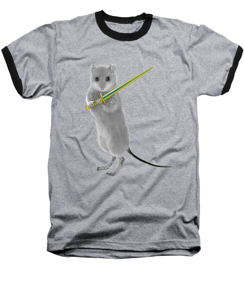 Squeaky, Warrior Mouse Baseball T-Shirt by Susan Eileen Evans