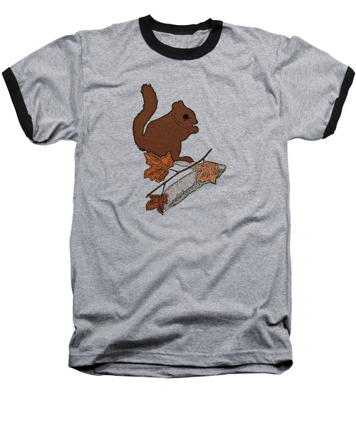 Squirrel Baseball T-Shirt by Priscilla Wolfe