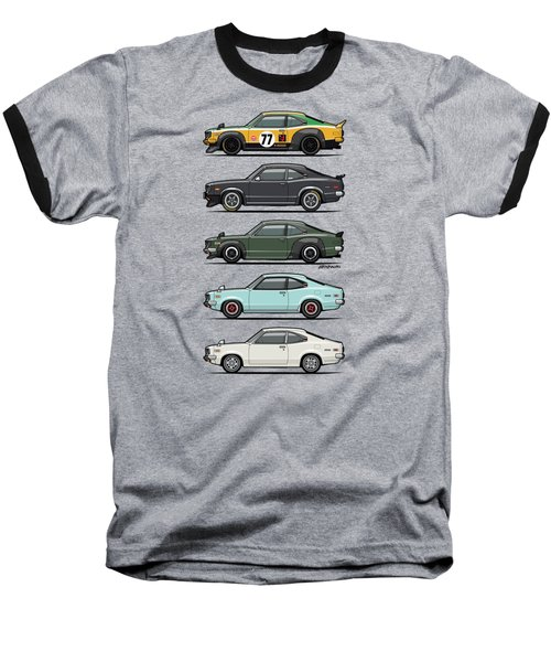 Stack Of Mazda Savanna Gt Rx-3 Coupes Baseball T-Shirt by Monkey Crisis On Mars