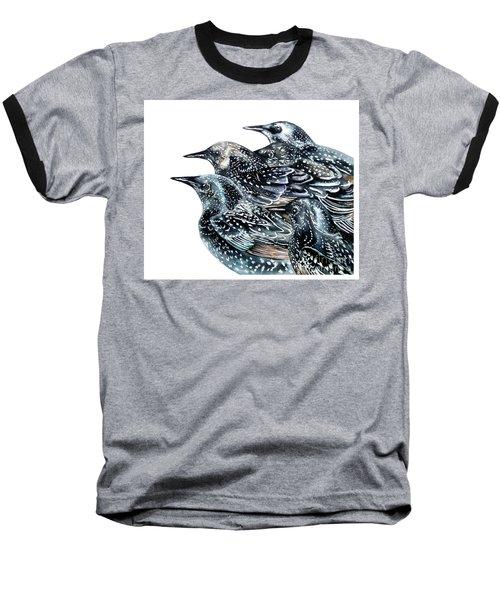 Starlings Baseball T-Shirt by Marie Burke