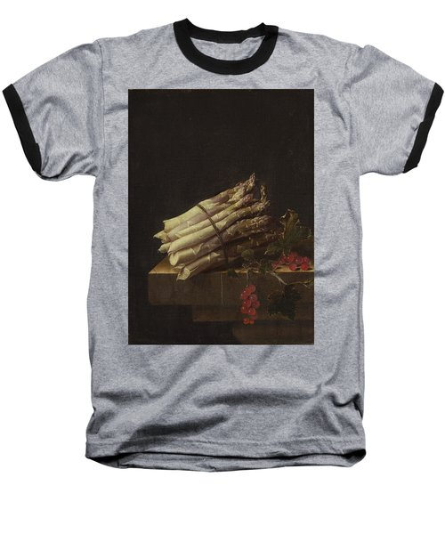 Still Life With Asparagus And Red Currants Baseball T-Shirt by Adriaen Coorte