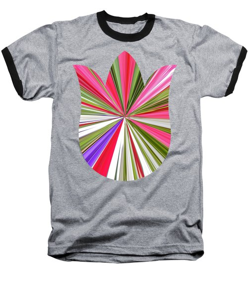 Striped Tulip Baseball T-Shirt by Marian Bell