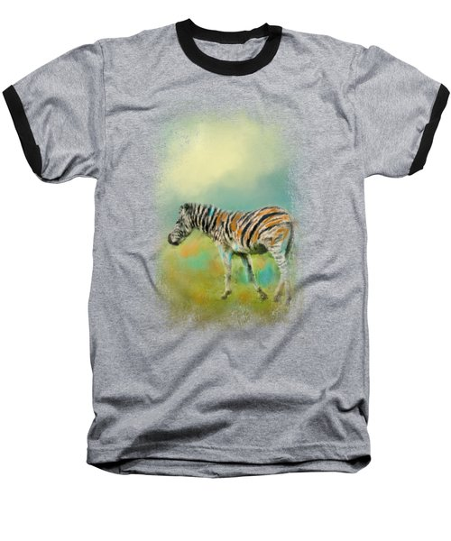 Summer Zebra 2 Baseball T-Shirt by Jai Johnson